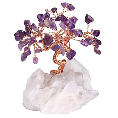 rockcloud Natürlicher Kristall-Baum-Chips Geldbaum mit Bergquarz-Basis Dekoration für Reichtum und Glück Amethyst (Rock Quartz Base) -
