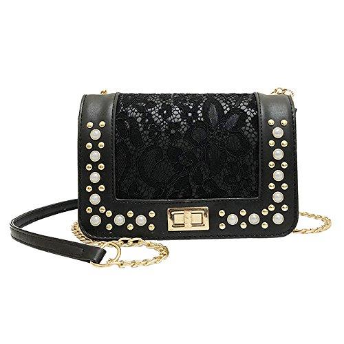 Beikoard borsa a tracolla della borsa del telefono del sacchetto della moneta della borsa del crossbody del cuoio della perla delle donne di modo(nero)