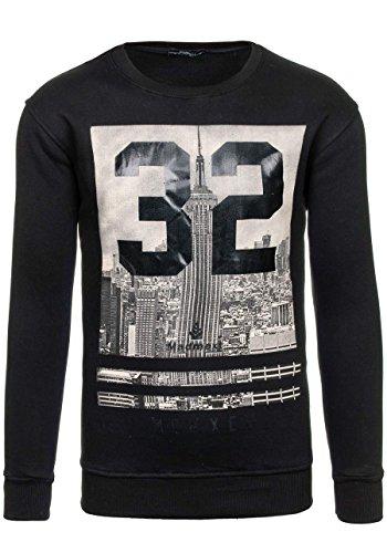 BOLF Herrenpullover Sweatshirt Sweatjacke Langarm Pullover MADMEXT 1226 Schwarz_1229
