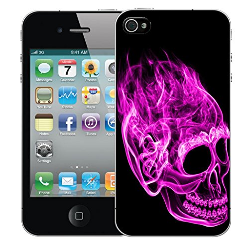 Mobile Case Mate iPhone 5 clip on Dur Coque couverture case cover Pare-chocs - inferno skull Rose Motif avec Stylet inferno skull pink