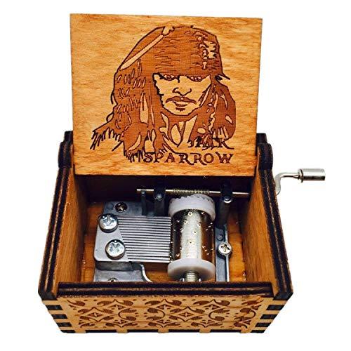 [Actualización de 2018] OMGXS puro clásico a mano 'Piratas del Caribe', 'Jack Sparrow' caja de música caja de música de madera a mano artesanía de madera creativa mejores regalos