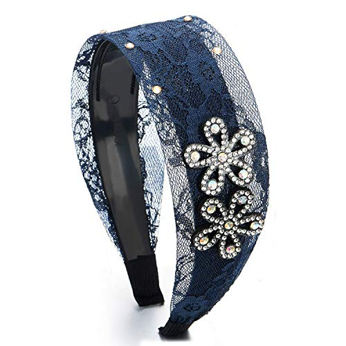 COOLSTEELANDBEYOND Hipster Schick Mode Breiten Breitseite Blau Blumen Spitze Strass Blumen Haarreif Haarkranz Stirnband Kopfband Haarband