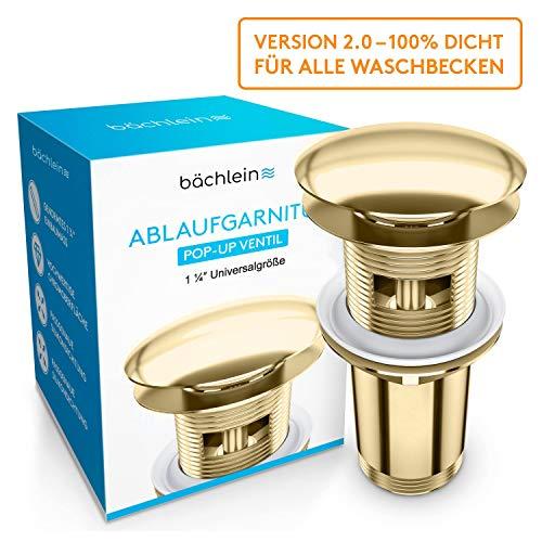Bächlein Universal Ablaufgarnitur mit Überlauf für Waschbecken & Waschtisch - [PVD Gold] Pop Up Ventil - Ablaufventil Abflussgarnitur aus Messing - Einbau mit Anleitung werkzeuglos
