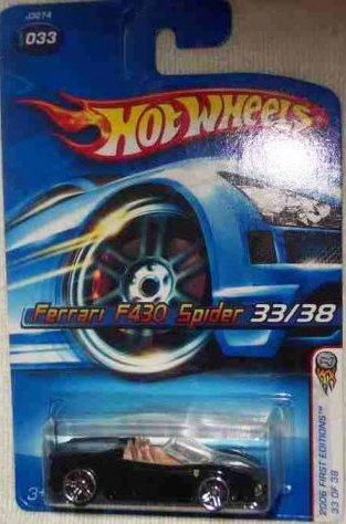Mattel Hot Wheels 2006 First Editions 1:64 Scale Black Ferrari F430 Spider Die Cast Car #033 by Mattel