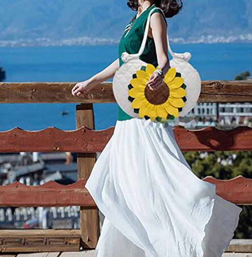 Donne-messenger-bag-borsa Crossbody Bag Tote Bag Borsa A Tracolla Dal Design 2017 Nuovo Sole-fiore Bianco