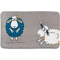 Tatkraft Funny Sheep - Alfombrilla de Baño de Microfibra, Ultra Suave, Antideslizante, Color Gris (50x 80x 1,5cm)
