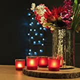 Homesake Frost Red Tealight Holder, Set Of 4, Glass Votive Candle Holder Table With Free Candle