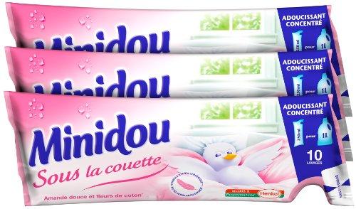 Minidou - Adoucissant en Doses - Amande Douce et Fleurs de Coton - Tripack 250 ml / 30 Lavages