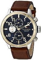 Tommy Hilfiger hombres de 1791137Cool deporte dos tonos reloj de acero inoxidable con correa de cuero de Tommy Hilfiger