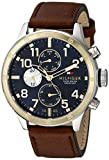 Tommy Hilfiger Men's 1791137 Cool Sport Two-Tone Stainless Steel Watch with Leather Band