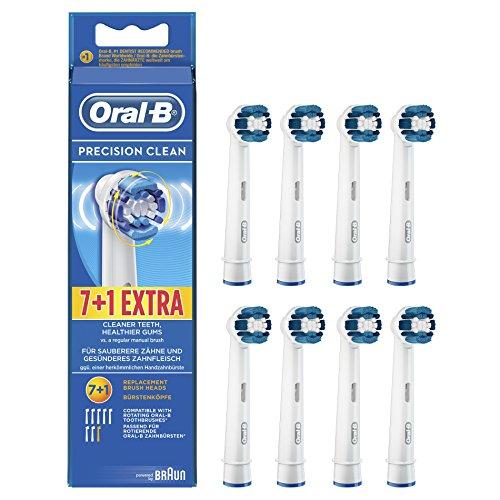 Oral-B Precison Clean Aufsteckbürsten 7+1 Stück (Ersatzbürstenköpfe für elektrische Zahnbürsten, Testsieger Stiftung Warentest (test 9/2014), gesunde Zähne, powered by Braun)