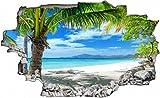 Palmen Meer Strand Beach Karibik Wandtattoo Wandsticker Wandaufkleber C0316 Größe 120 cm x 180 cm