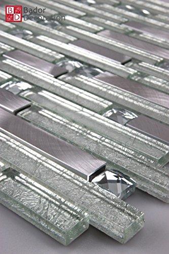 Aluminium Mosaik (Mosaikmuster Mosaike Glasmosaik Mosaikfliesen Glasfliesen Mosaik Glas Aluminium gebürstet neu 30x15cm)