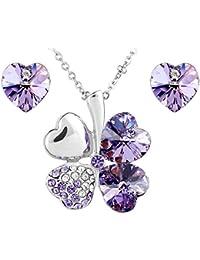Le Premium Collar con dije de a juego con pendientes corazón cristal con cristal swarovski violeta morado