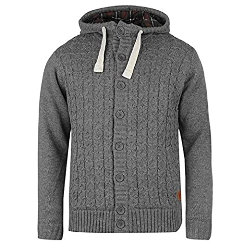 SoulCal Mens Cable Knitted Cardigan Hoody Padded Ribbed Hooded Button