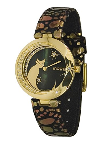 Moog Paris Lucille Women's Watch with Black Dial, Black & Gold Genuine Leather Strap & Swarovski Elements - M44912-004