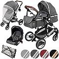 ib style® SOLE 3 in 1 Kombi Kinderwagen   inkl. Auto Babyschale   Zusammenklappbar  0-15kg  2 Farben