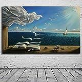 Karen Max Kunstdruck auf Leinwand, Motiv Salvador Dali, Motiv: The Waves Book Segelboot 40x60inch No Frame