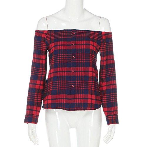Vovotrade Le donne camicia casual a quadri spalla manica lunga camicetta Rosso