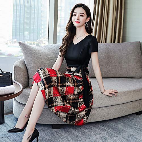 UOYJN Woman Dress Silk Dress Female Summer Anti-Season V-Neck Slim Slimming Heavy Silk Silk Popular Skirt