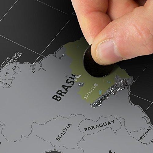 #benehacks Mapa del Mundo para rascar en Castellano   Carta para raspar   Plata/Negro 84 x 44 cm Incl. Embalaje de Regalo …