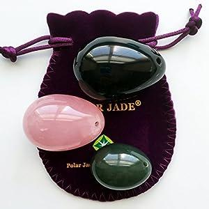 Yoni Eier Set aus drei Edelsteine : Nephrit, Rosenquarz und schwarzer Obsidian, G / M / K 3 Größen, mit Anweisungen, zertifiziert & gebohrt, für PC Muskeln Übungen, Yoni Massage und für Kristallheilung, von Polar Jade