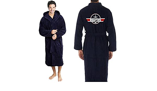 bdc7c65adf Star and Stripes Inspired RED Five X Wing Top Gun Fighter Jet Terry Towel  Bathrobe L XL  Amazon.co.uk  Clothing
