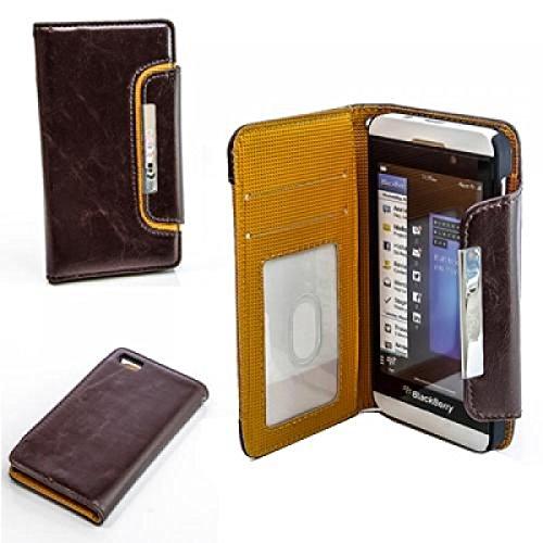 Blackberry Z10 Hülle, numia Handyhülle Handy Schutzhülle [Book-Style Handytasche mit Standfunktion und Kartenfach] Pu Leder Tasche für Blackberry Z10 Case Cover [Braun-Orange]