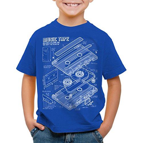style3 Tape Cianotipo Camiseta para Niños T-Shirt DJ Turntable 3D MC, Color:Azul;Talla:104