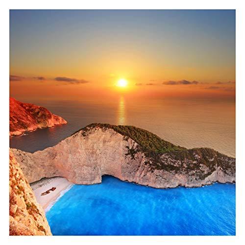 Tapete selbstklebend - Sonnenuntergang über Zakynathos Quadrat 192x192 cm -