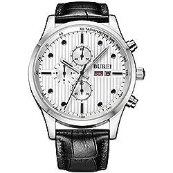 BUREI Herren Armbanduhr Chronograph Herrenuhr Leder schwarz BM-7001-01A