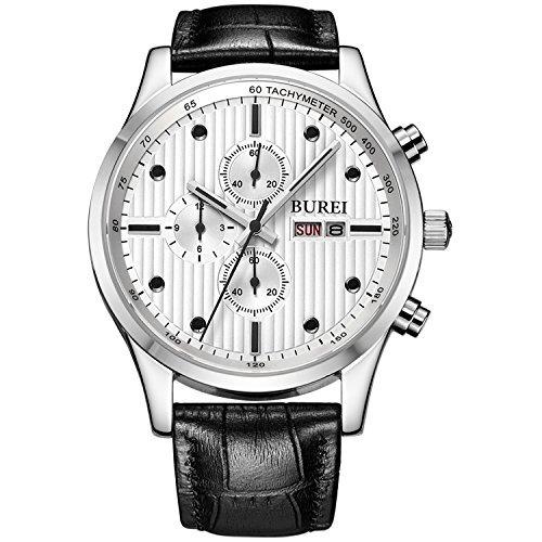 BUREI Herren Elegante Business Armbanduhr Chronograph Stoppuhr Multi-funktion Saphirglas weißem Zifferblatt mit schwarzem Lederband