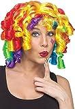 Damen Rainbow bunt lockig Clown Zirkus Kostüm Kleid Outfit Perücke