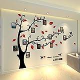 Warmcasa Stickers Autocollants Muraux 3D en Acrylique Arbre avec des Branches Incurvées et des Cadres de Photo et des Oiseaux(M, Rouge vers Droit)