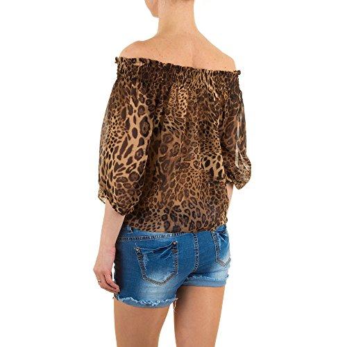 Damen Bluse, JCL LEO SCHULTERFREIE CHIFFON BLUSE, KL-54077 Braun