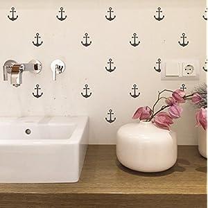 Wandaufkleber Set mit kleinen Ankern je 60mm Höhe Wandtattoo Wandsticker Sticker Wanddeko Maritim Kinderzimmer, Badezimmer, Fliesen