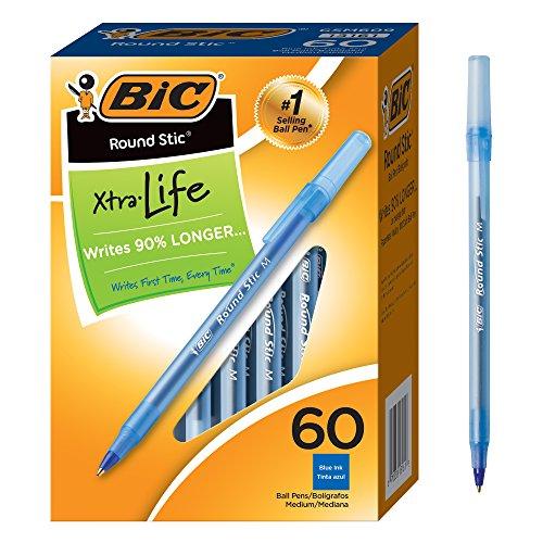 Round Stic Ballpoint Pen, Blue Ink, Medium Point, 1.0 mm, 60 per Box, Sold as 1 Box