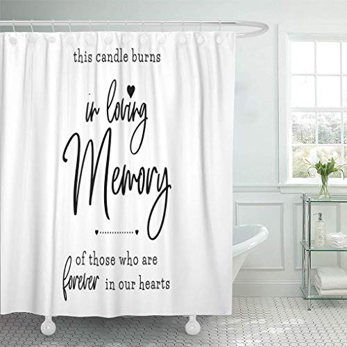 Co5675do Shower Curtain Polyester Bath Curtain 72x72 Inch Loving Memory Candle Burns Forever Our Hearts Wedding Groom and Bride Marriage Quote Lettering Bathroom Decor