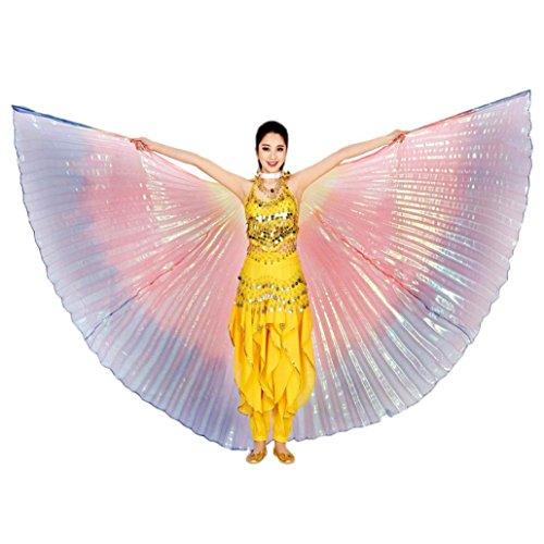 Overdose 142CM Frauen Egypt Belly Wings Dancing Costume Belly Dance accessories No Sticks Ägypten Bauch Flügel Tanz Kostüm Bauchtanz Zubehör Keine Sticks (142CM, Multicolor) (Seide 60er Schal)