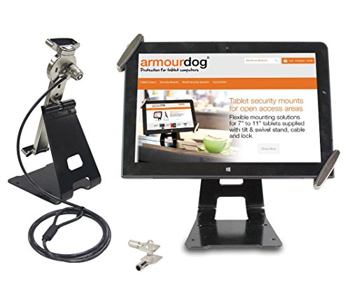 "armourdog® secure universal tablet mount and stand. Supplied with security cable and lock. 360 Degree tilt and swivel mount. For Apple iPad Air & iPad 2/3/4, Pro & Mini, Lenovo ThinkPad 10, Dell Venue, HP Elitepad, Samsung Galaxy Tab Android tablet PC etc. Compatible with most 7"" / 8'' / 9"" / 10"" tablets. Test"