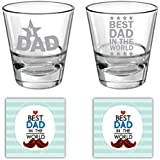YaYa Cafe Birthday Gifts For Father, No 1 Best Dad In The World Whisky Glass For Dad Set Of 2-350 Ml