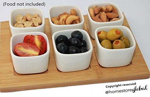 HomeStore Global, Sommerurlaub Geschenk Snackschalen-Set mit halter aus Bambus , Bambus Dipschalen Set 6-tlg. Schalen aus Porzellan Servierschale Snackschale