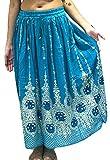 Neue Design Schöne Damen Indian Boho Hippie Zigeuner Lang Sequin Rock | Bauchtanz Röcke | Tänzer Welt (Turq Gold mit blauem Einsatz)