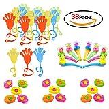 38pcs de Juguetes , incluye mano pegajosa juguete,Labios Silbatos ,Juguete Tubo De Soplado Y Huevos para niños fiesta de cumpleaños bolsa de regalo juguete