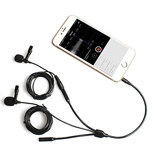 Dual Lavalier Microfono, MAONO AU303 Lapel Microfoni con Cuffie Output Jack Clip-on Mani Libere Intervista Condensatore Omnidirezionale Podcast Mic per iPhone, Samsung, Android, Smartphones, iPad, Tablets
