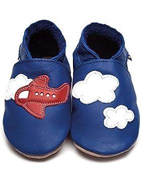 Inch Blue Babyschuhe Lauflernschuhe Krabbelschuhe aus Leder Blau Flugzeug