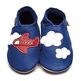 Inch Blue Babyschuhe Lauflernschuhe Krabbelschuhe aus Leder Blau Flugzeug (12-18 Mon)