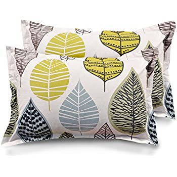 """Ahmedabad Cotton 2 Piece Cotton Pillow Cover Set - 18""""x27"""", Beige, Green and Blue"""
