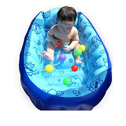 Babybadewanne, Babybadewanne, blaue zusammenklappbare aufblasbare Wanne, tragbare Luftpumpe 90 * 55 * 30cm - Geeignet für die Reise zu Hause