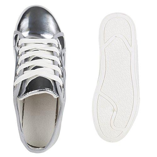 Plateau Sneakers | Damen Sneaker Low | Glitzer Metallic Schuhe | Sportschuhe Strass | Turnschuhe Lack Animal Print | Camouflage Silber Plateau